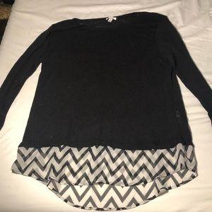 Charming Charlie black sweater w/ chevron chiffon